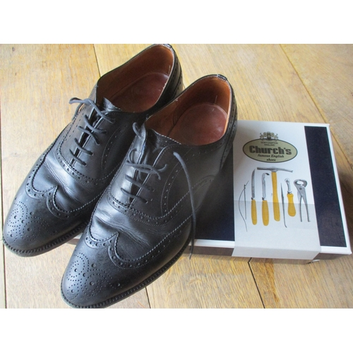 10 - Five pairs of good quality gents shoes to include a pair of Church's black lace up shoes size 6 1/2,...