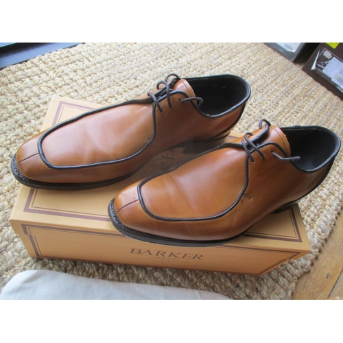 12 - Three pairs of gents Barker leather shoes, size 6.5, to include a pair of black hi-shine Jaques, tog...