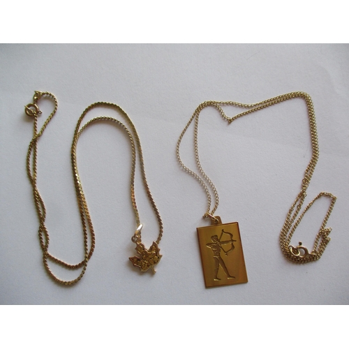 3 - A 14ct gold necklace with 14ct gold pendant in the form of a Canadian maple leaf, 5.2g, together wit...