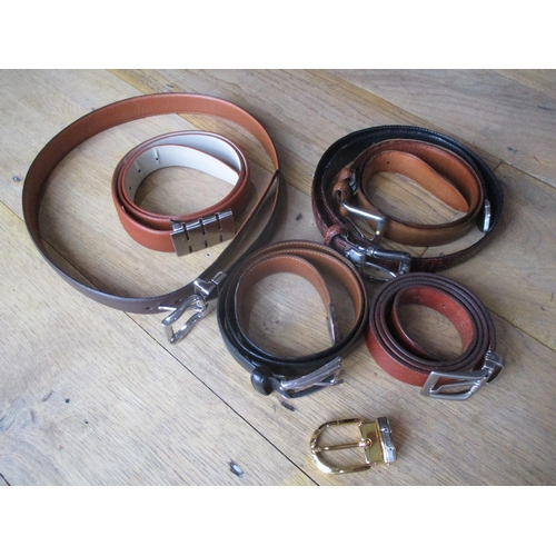 32 - Six gents leather belts, various sizes to include Ted Lapidus, Cole Hann, Trafalgar, one possibly Ra...