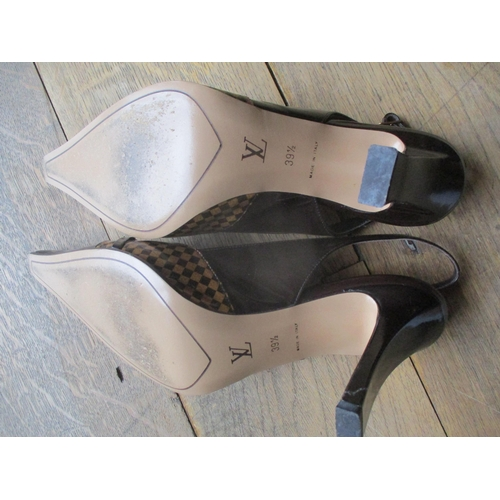 47 - A pair of Louis Vuitton brown leather sling-back shoes in iconic design, size 39.5, with 3.5 inch ha...