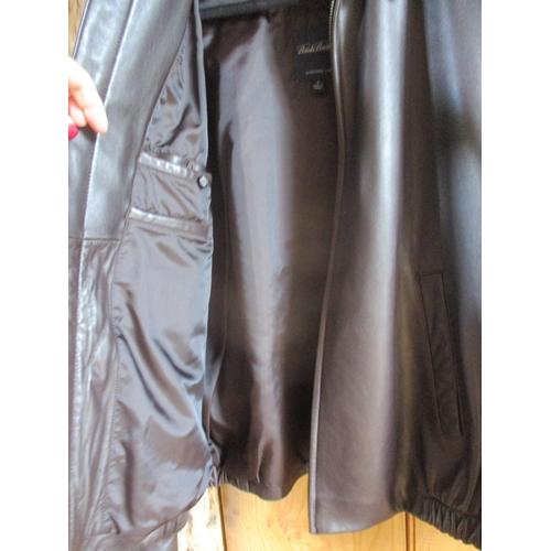 52 - A gents Brooks Brothers black lambskin leather jacket, size Medium. Location:Rail