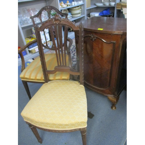 391 - An early 20th century bow front mahogany cabinet on cabriole legs, 83 h x 52cm w and a mahogany fram...