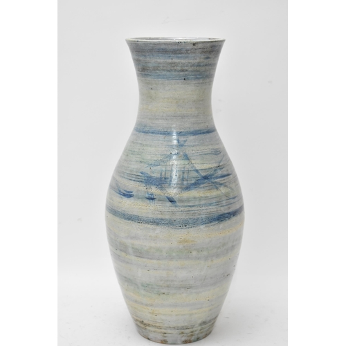 Bernard Leach (1887-1979), studio pottery ovoid vase with flared rim, decorated with fish, signed B L and dated 1962to base, 34cm high Condition: no damage