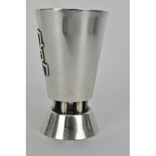 57 - A late 20th century silver Israel Kiddush cup, with text   reading 'Borei pri Ha Gafen', 10cm high, ...