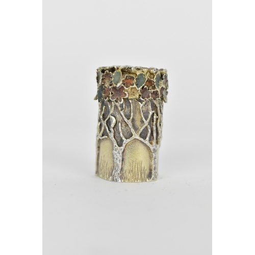 7 - This Lot Has Been Withdrawn  A Stuart Devlin silver pill box decorated with trees and coloured ename...