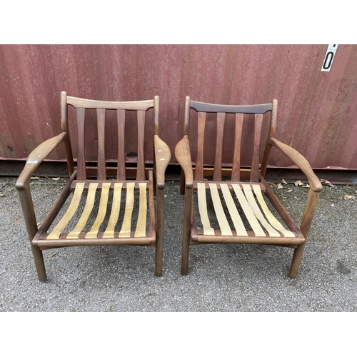 44 - A pair of original R W Toothill retro vintage 1960's afromosia teak wood framed easy / lounge chair ...