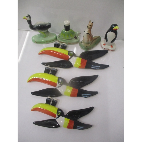Carltonware Guinness advertising ceramics comprising three graduated toucans, a kangaroo, a tortoise and an emu Location: 9.4