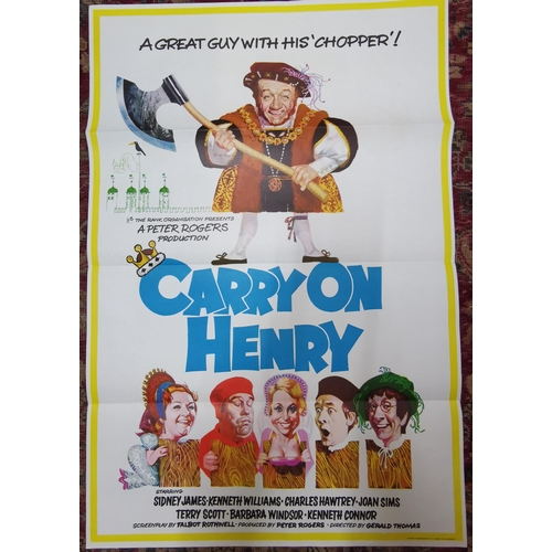 An original film poster for Carry on Henry, 101cm x 68cm Location: LAM