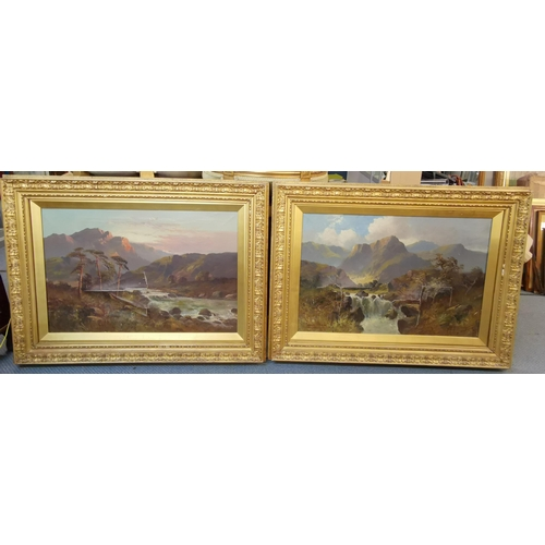 Charles Stanfield, two 19th century mountain scape scenes, oils on canvas, set in gilt wood and gesso frames, 52cm x 77cm, both canvas are badly damaged Location: LWF