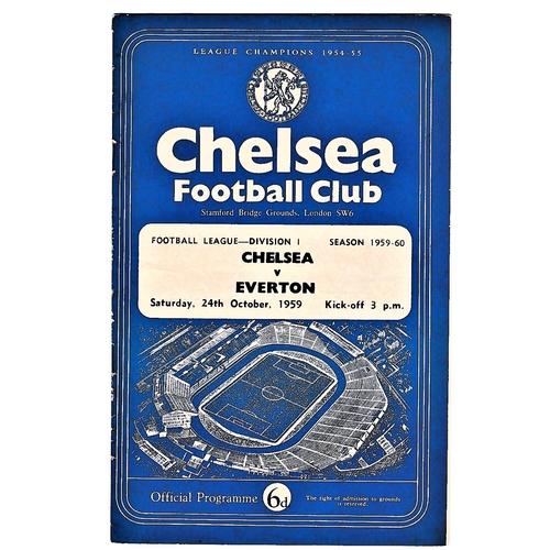 10 - Chelsea v Everton 1959 October 24th League horizontal crease half time scoreboard in pen...