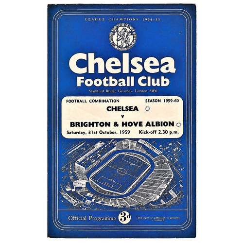 12 - Chelsea v Brighton & Hove Albion 1959 October 31st Football Combination horizontal & vertical crease...