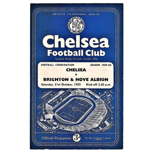 13 - Chelsea v Brighton & Hove Albion 1959 October 31st Football Combination horizontal & vertical crease...