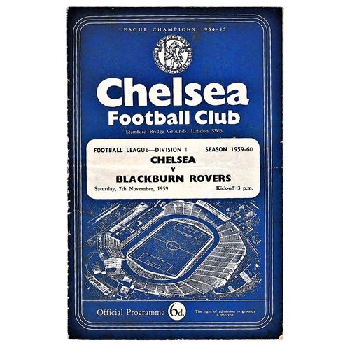 14 - Chelsea v Blackburn Rovers 1959 November 7th League horizontal & vertical creases team change in pen...