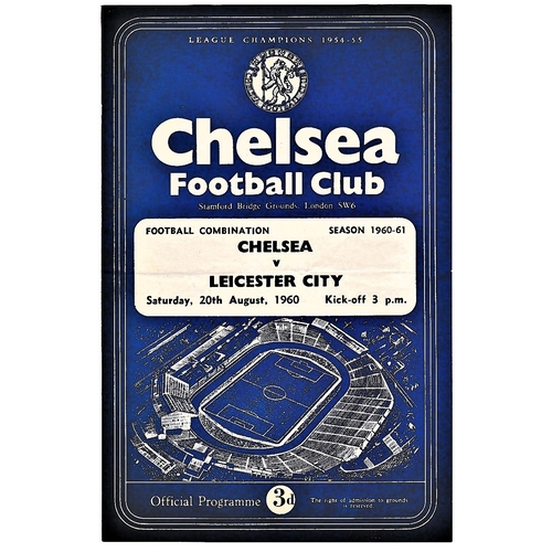17 - Chelsea v Leicester City 1960 August 20th Football Combination horizontal & vertical creases...