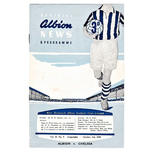 2 - West Bromwich Albion v Chelsea 1959 October 3rd League vertical crease rusty staples team change sco...