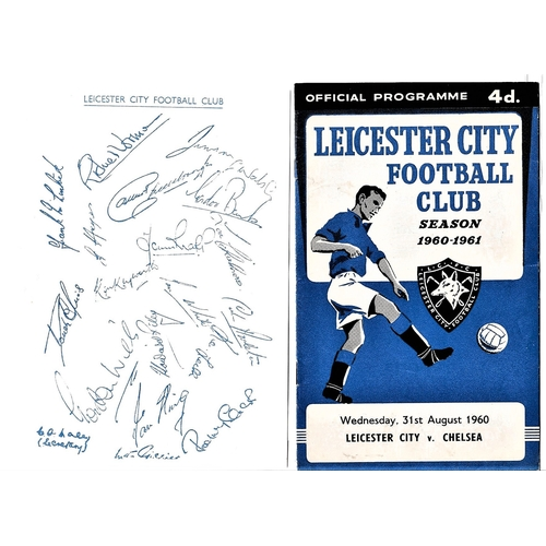 20 - Leicester City v Chelsea 1960 August 31st League horizontal crease score in pen also separate sheet ...