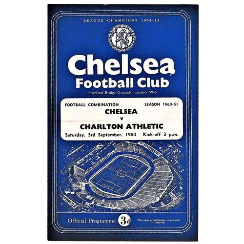 22 - Chelsea v Charlton Athletic 1960 September 3rd Football Combination horizontal & vertical creases...