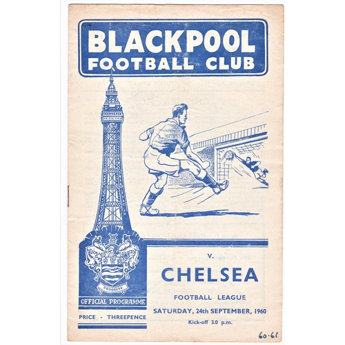 27 - Blackpool v Chelsea 1960 September 24th League horizontal & vertical creases 60.61 in pen front cove...