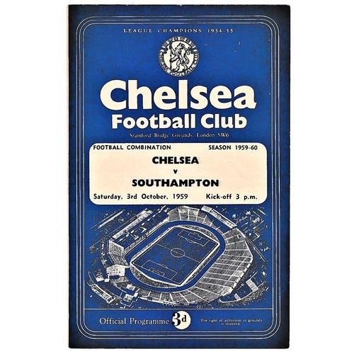3 - Chelsea v Southampton 1959 October 3rd Football Combination vertical crease...