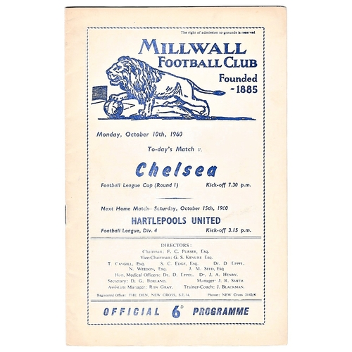 30 - Millwall v Chelsea 1960 October 10th League Cup (Round 1)...