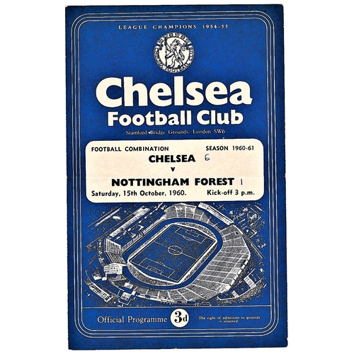 32 - Chelsea v Nottingham Forest 1960 October 15th Football Combination score in pen front cover & team p...
