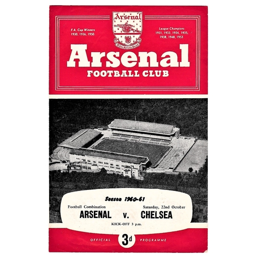 34 - Arsenal v Chelsea 1960 October 22nd Football Combination horizontal crease score & team change in pe...