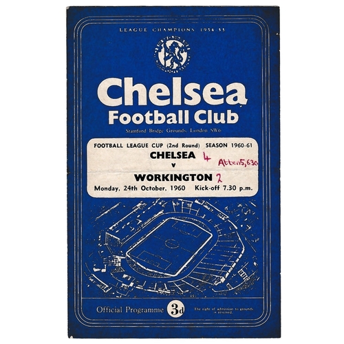35 - Chelsea v Workington 1960 October 24th Football League Cup (2nd round) horizontal crease score & tea...