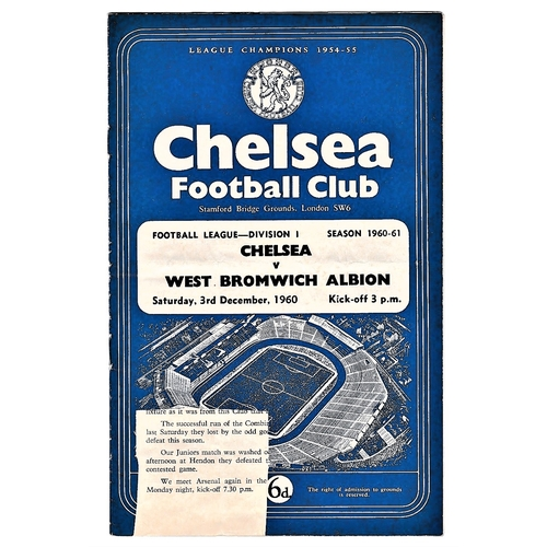 43 - Chelsea v West Bromwich Albion 1960 December 3rd League horizontal crease piece front cover missing ...