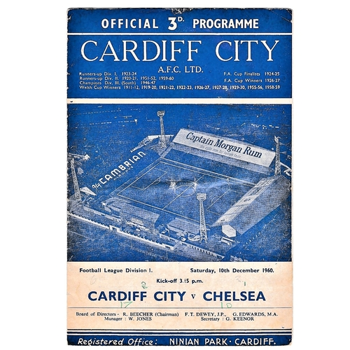 45 - Cardiff City v Chelsea 1960 December 10th League horizontal crease score front & back covers in pen...