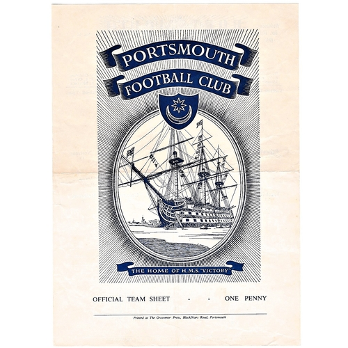 46 - Portsmouth v Chelsea 1960 December 14th Football League Cup 4th round horizontal & vertical creases...
