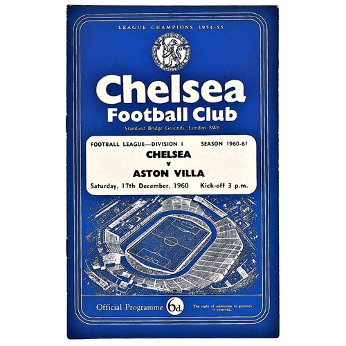 48 - Chelsea v Aston Villa 1960 December 17th League vertical crease score & team change in pen...