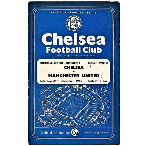 49 - Chelsea v Manchester United 1960 December 24th League score & team change in pen score in pen front ...