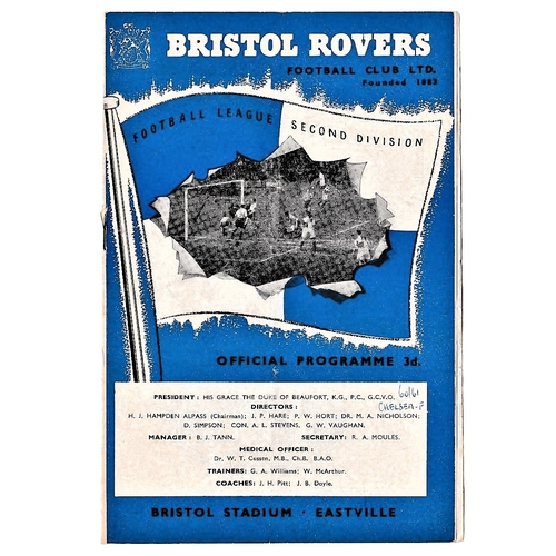 55 - Bristol Rovers v Chelsea 1961 January 28th friendly match vertical & horizontal creases pen on front...