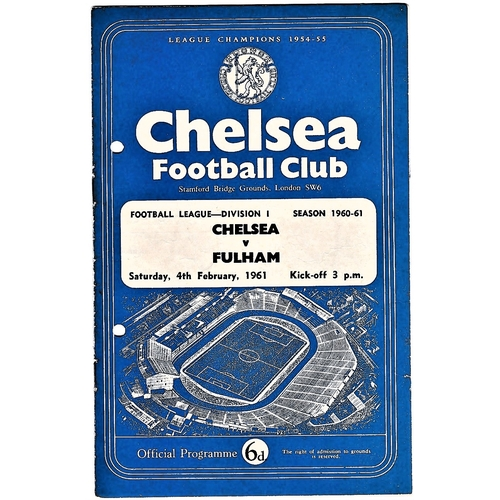 56 - Chelsea v Fulham 1961 February 4th League team change in pen hole punched left...