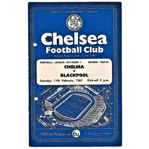 57 - Chelsea v Blackpool 1961 February 11th vertical crease hole punched left...
