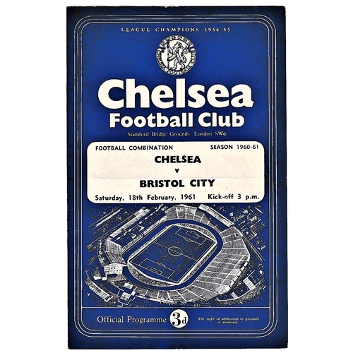 59 - Chelsea v Bristol City 1961 February 18th Football Combination horizontal & vertical creases team ch...