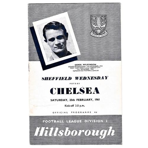 60 - Sheffield Wednesday v Chelsea 1961 February 25th League horizontal creases score in pen...