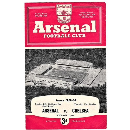 7 - Arsenal v Chelsea 1959 October 15th London FA Challenge Cup (2nd Round) horizontal crease score in p...