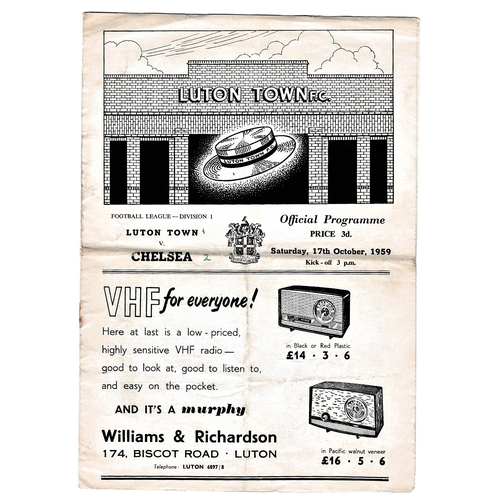 8 - Luton Town v Chelsea 1959 October 17th League horizontal & verticals creases rusty staple score in p...