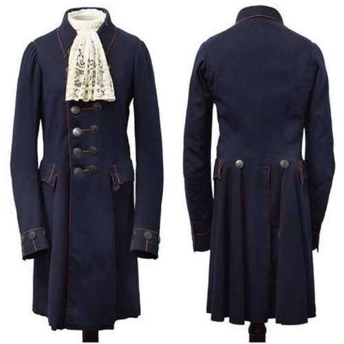 1 - Cavalry Officer's Dress Light Coat. 19th Century. Small. Navy wool cloth with red piping, arm holdin...