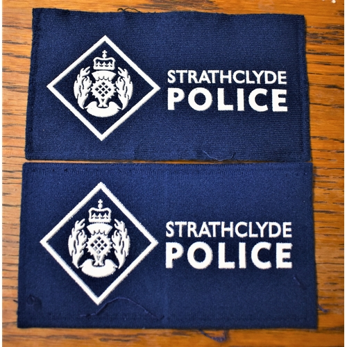 64 - Strathclyde Police Cloth Pullover Patches (2) EIIR Crown...