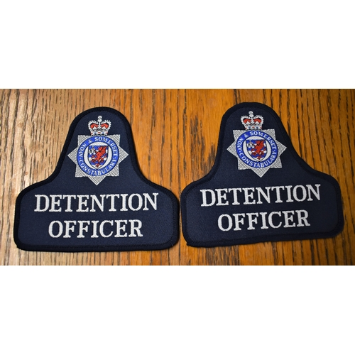 72 - Avon & Somerset Constabulary Detention Officer Cloth Chest Pullover Patches (2) EIIR Crown...