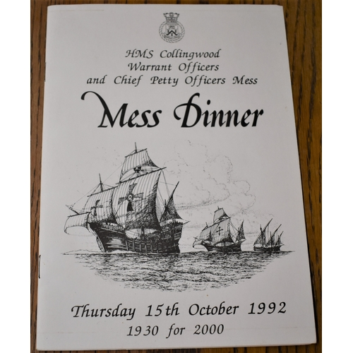 106 - HMS Collingwood Warrant Officers and Chief Petty Officers Mess Menu for the Mess Dinner Thursday 15t...