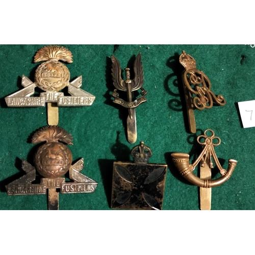 137 - British Cap Badges: Lancashire Fusiliers (2), SAS, Norfolk Yeomanry, Sherwood Rangers Yeomanry and R...