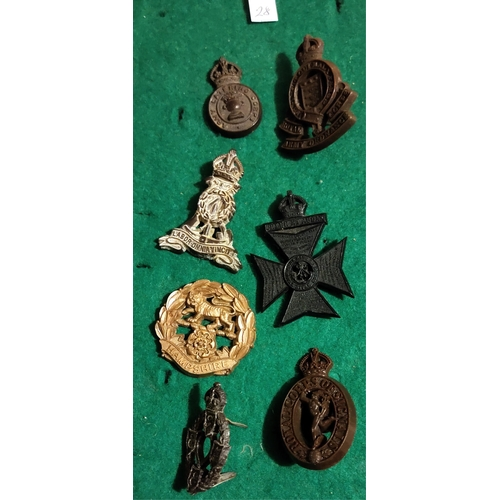 303 - British WWII (Economy Plastic) Cap Badges (7) including: Army Catering Corps, Royal Army Ordnance Co...
