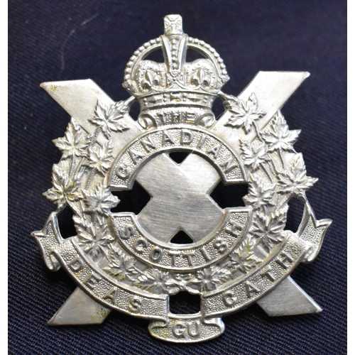 161 - Canadian Scottish Regiment (Princess Mary's) WWII Cap Badge (White-metal), two lugs. This is a Prima...