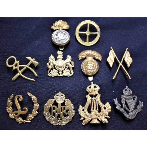 347 - British Military Cap Badges and Qualification Badges (10) including: RAF, Tyneside Irish, Head Bands...