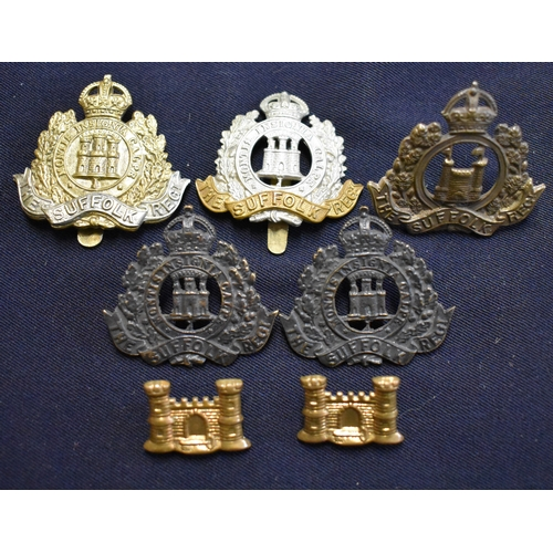 421 - The Suffolk Regiment Cap Badges and Collar SD Badges (3 badges, a SD Collar Badge Pair and Officers ...