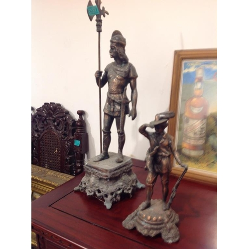 27 - Two Spelter Figures of a Hunting Man & a Soldier...